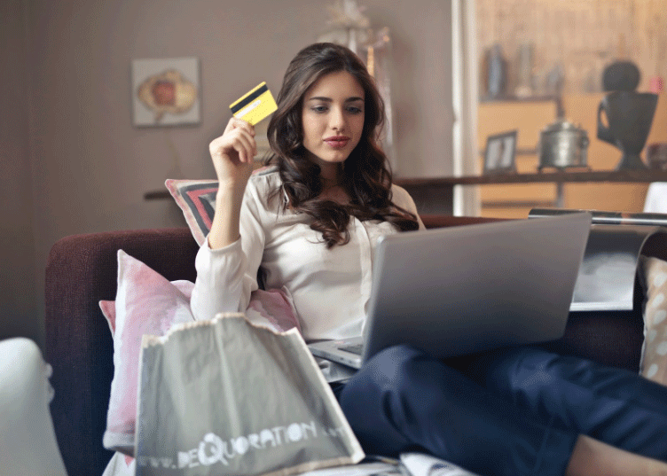 Close up of a woman shopping online