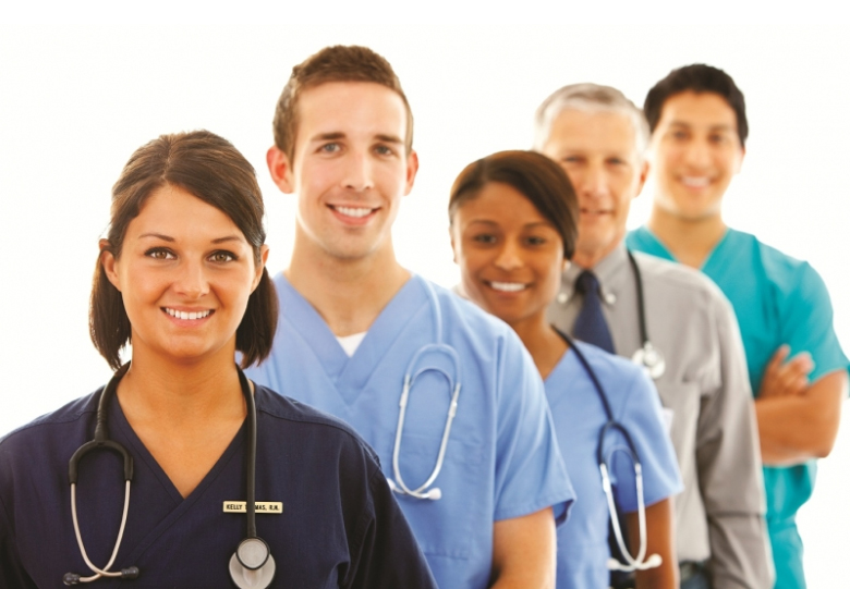 Various medical professionals standing in a row