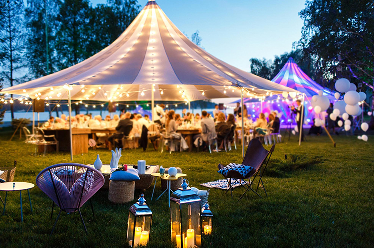 Colourful event with tents and lights