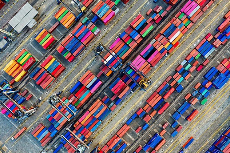 Overhead shot of shipping containers