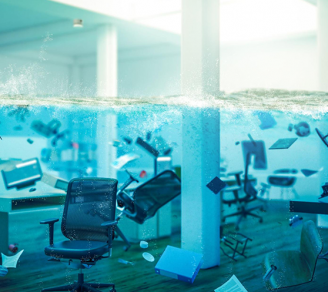 A photo representation of a flooded office