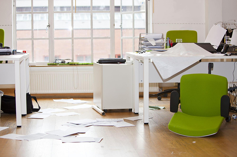 A rented business office space that has been burglarized
