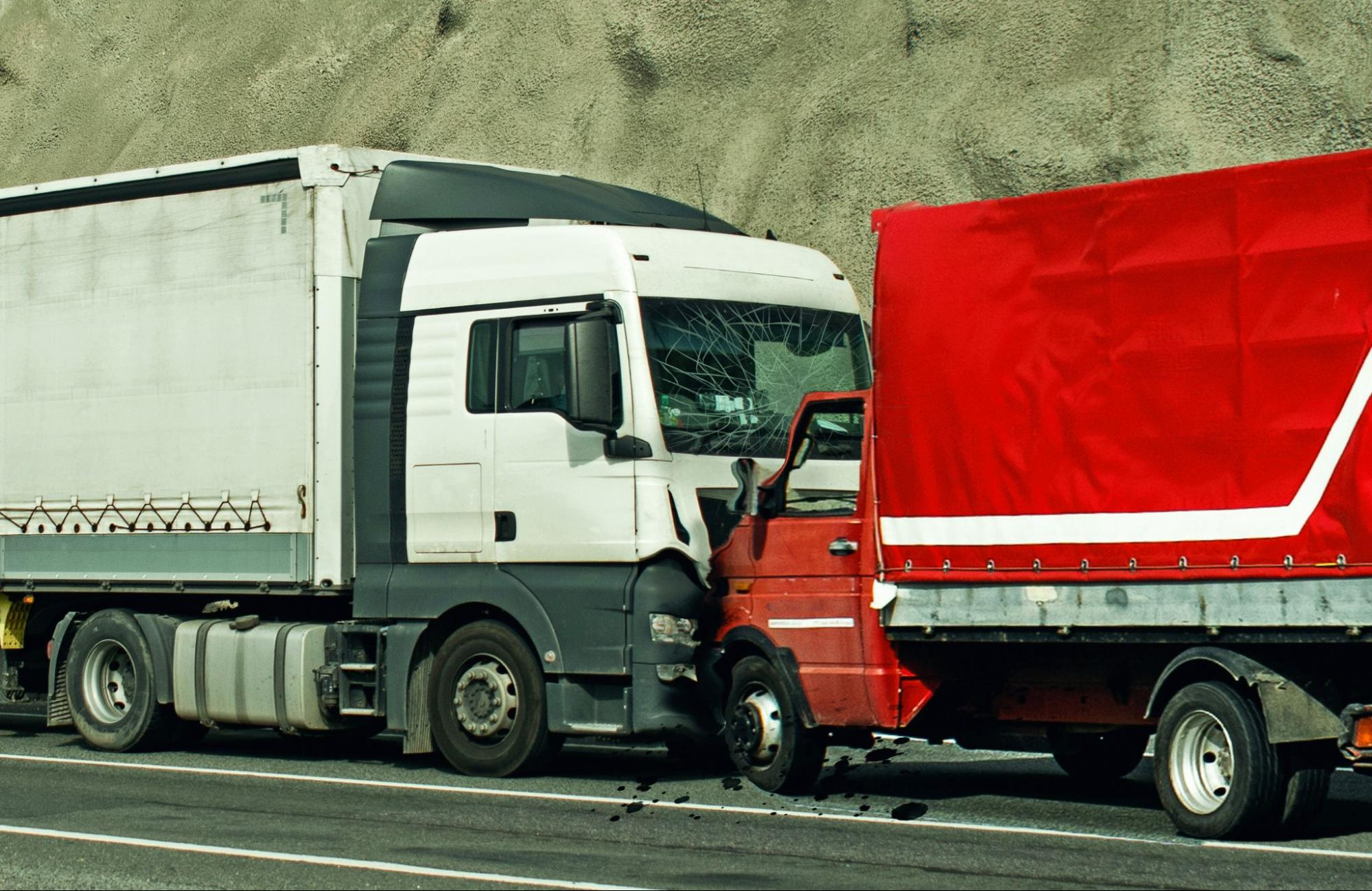 Two commercial trucks that got into a road accident